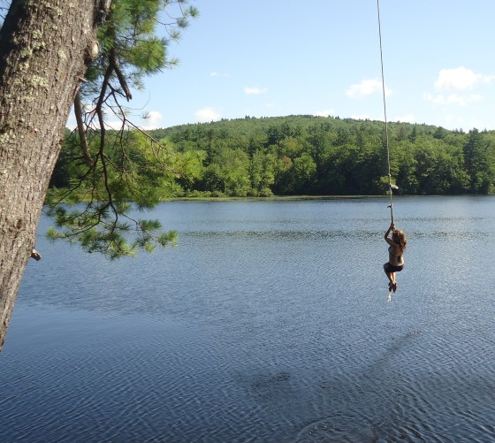 Laura on Rope Swing, Lake Todd (Newbury, NH)