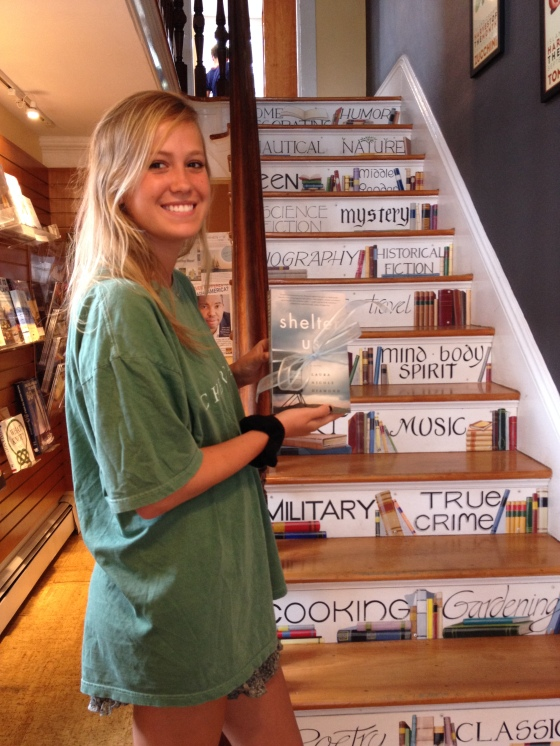 May (whose books I hope to be reading in the not-to-distant future) in front of the stairway to Edgartown Books' second story.