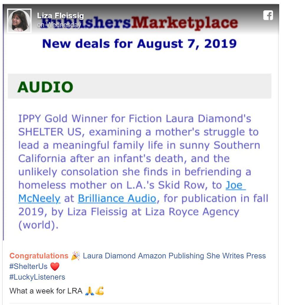 Audiobook Announcement, Liza Fleissing FB