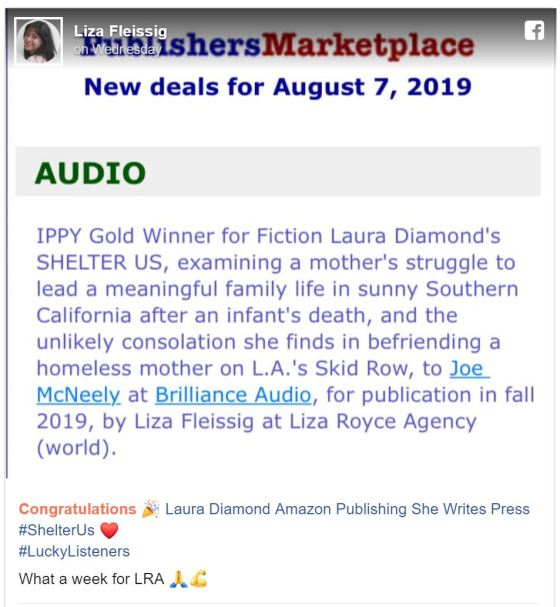 Audiobook Announcement, Liza Fleissing FB